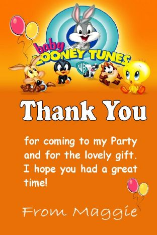 Personalised Baby Looney Tunes Thank You Cards